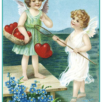 Valentines Cherubs Fishing for Hearts from Antique Card Counted Cross Stitch or Counted Needlepoint Pattern