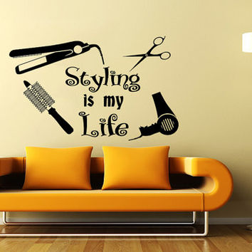 Hair Salon Beauty Salon Barbershop Hairdressing Salon Wall Decal Vinyl Sticker Wall Decor Home Interior Design Art Mural KV-5
