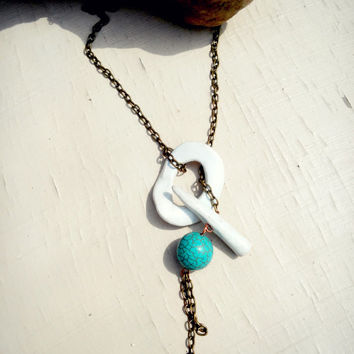 Turquoise Gemstone White Porcelain necklace, Simple Ceramic Lariat necklace, Unique Natural Clay necklace, Contemporary jewelry for her