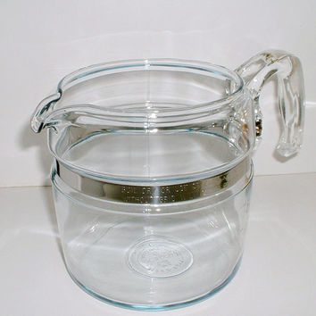 Pyrex Flameware Glass Percolater Coffee Pot # 7756  6 Cup Replacement Base Pot with Handle