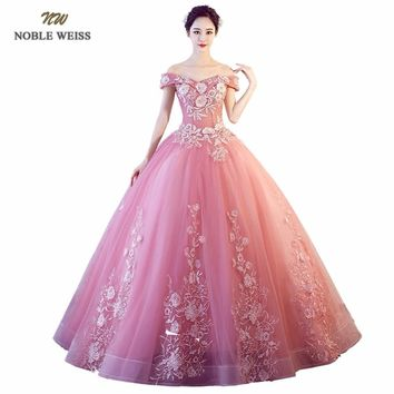 NOBLE WEISS Sexy Pink Quinceanera Dresses Appliques Tulle Sweetheart Ball Gown Floor Length Formal Prom Dress