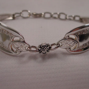 a Gorgeous Spoon Bracelet Old Colony Pattern With Cute Charm Handmade Fork and Spoon Jewelry b150