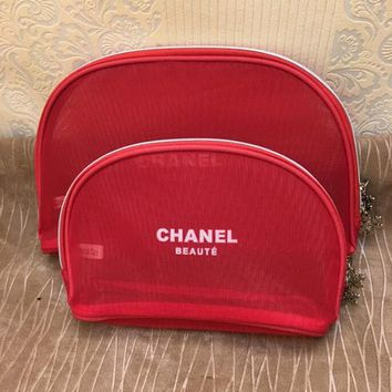 Chanel Popular Women Red Lace Mesh Portable Carry-On Bag Wash Gargle Bag Receive Package Zipper Net Yarn Cosmetic Bag I12292-1