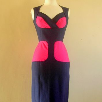 Size UK 10 US 68  Navy and Pink Panelled Bustier by digforvictory