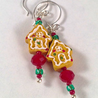 Tiny Gingerbread House earrings - Silver kidney earwires - red & green crystal and glass beads -  Kid's Girl's Children's - brown white