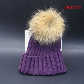 MDIG9GW Trendy Unisex Men Women Winter Fur Cap Hat Baggy Beanie Knit Crochet Ski Oversized Slouch Cap Accessories