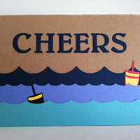 Cheers, Just a Hello, Thinking of You, Waves and Buoys Kraft Greeting Card