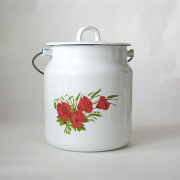 Soviet Vintage enamel milk can with lid. White milc can with Red poppy flower ornament - Vintage Kitchen Decor -  Industrial vintage
