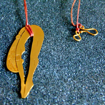 Beautiful 18k solid gold diving swimmer pendant-Yellow gold diving swimmer pendant-Women statement gold pendant-Artisan jewelry-Greek art