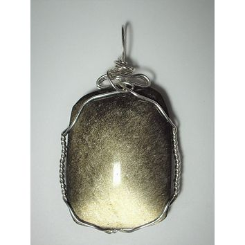 Silver Sheen Obsidian Stone Pendant Wire Wrapped .925 Sterling Silver