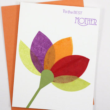 Mother's Day Card Handmade Flower Petals Cards Orange Yellow Green Purple