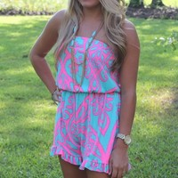 Bangles Boutique — NEON PINK & AQUA BLUE ROMPER ACCENTED WITH RUFFLES