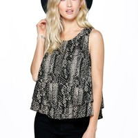 Aaliyah Printed Double Layer Woven Top