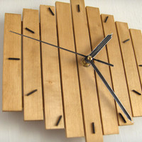 Wooden wall hanging clock wood old oak silent movement