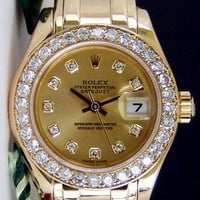Rolex Lady Datejust Pearlmaster Champagne Jubilee Diamond Gold 80298 WATCH CHEST
