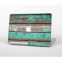 The Chipped Teal Paint On Wood Skin Set for the Apple MacBook Pro 13""