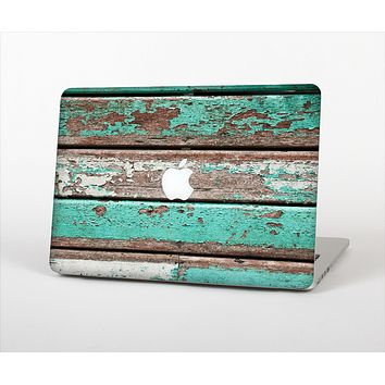 The Chipped Teal Paint On Wood Skin Set for the Apple MacBook Air 13""