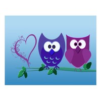 Cute Owls and Heart Postcard