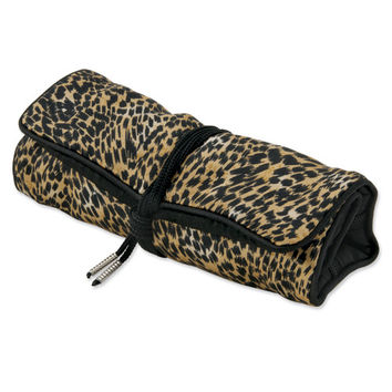 Cheetah Print Jewelry Roll with Black Trim