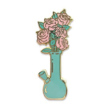 Romantic Bong Flowers Enamel Pin (aqua and bold blue)