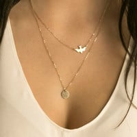 Hot Sale Fashion Layering Necklace Gold Delicate Gold bird Necklace / Dove Necklace Sequins Women Long Pendant Necklaces Jewelry