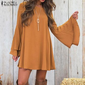 Women's Sexy Slash Neck/Bell Sleeve/Hollow Back Mini Dress.   Sizes: Small to 5XL.   In Yellow and Black.   ***FREE SHIPPING***