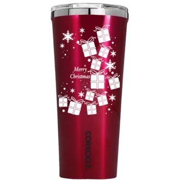Corkcicle 24 oz White Christmas Presents on Red Translucent Tumbler