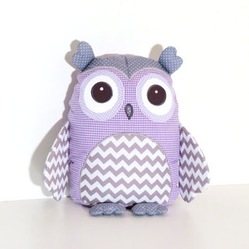 Baby Owl, Purple and  Grey Chevron Owl Pillow , Stuffed Owl Pillow -  Baby Shower Gift