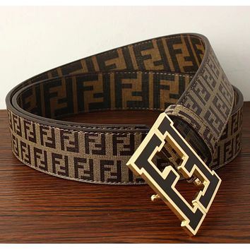 Fendi Trending Hot Sale Women Men F Mark Belt Print Belt B104518-1 Coffee(small mark)