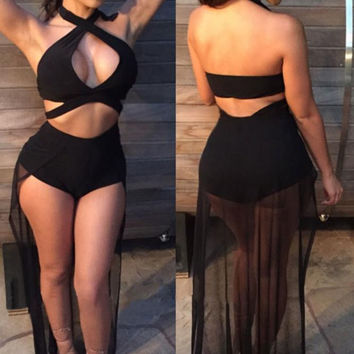 Womens Hollow Out Jumpsuit Bodycon Clubwear Black Sexy Halterneck Cutout Bodysuit With Sheer Mesh Tail