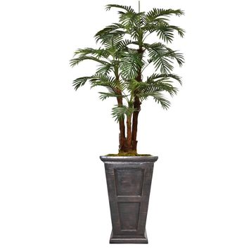 "84.8"" Artificial Palm Tree with Burlap Kit in 26.8"" Black/ Bronze Fiberstone Planter"
