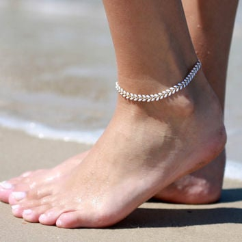 White Anklet - White Ankle Bracelet - Arrow Anklet - Foot Jewelry - Foot Bracelet - Chain Anklet - Summer Jewelry - Beach Jewel