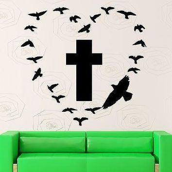 Wall Sticker Vinyl Decal Cross Birds Religion Soul Beautiful Room Decor Unique Gift (ig2179)