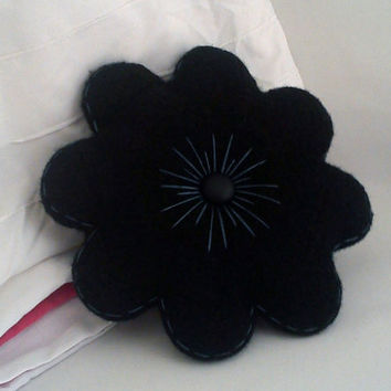 Small black felted flower throw pillow with by mohu