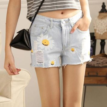 CREYL Hot Sale Summer Denim Shorts Women Daisies Printed Jeans Shorts Light Blue Hole Design Female All-match Casual Shorts Size M-XL