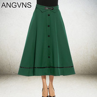 ANGVNS Vintage Long Skirt Lady Elegant Big Swing Skirt for Women 4 Color Bow Leather Casual Flare Skirts S,M,L,XL Saia Longa