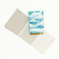 Miniature Clouds Painting on Real Stretched Canvas with Magnet Back and Glitter Sealer Unique Gift Idea Aqua Teal