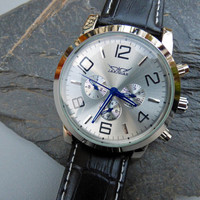 Luxury Black Mechanical Wrist Watch - Silver & Blue Face - Black Leather Wristband - Automatic - Men - Watch - Groomsmen Gift - Item MWA015