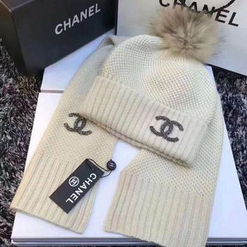 VONE055 CHANEL Women Beanies Knit Hat Cap Scarf Scarves Set Two-Piece