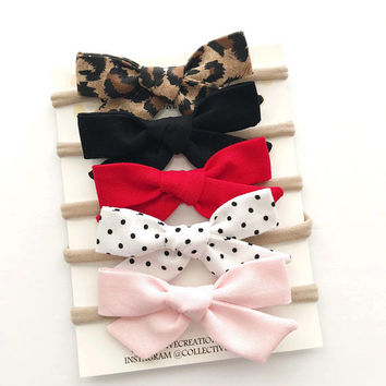 Baby Headbands - Baby Bows - Valentine's Day Headbands - Valentines Bows - Pink Baby Bow - Nylon Headbands -Red Baby Headband -Baby Bow Clip