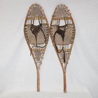 Antique Native American Cree Indian Pom Pom Snowshoes, Wood Snowshoes