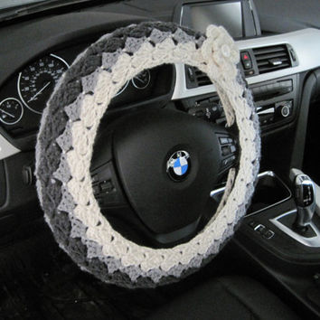 Crochet Steering Wheel Cover, Wheel Cozy - aran/true grey/dark grey  (CSWC 4A)