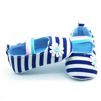 Newborn Baby Girls Elastic band Flower Cotton Shoes Soft Soled Striped Crib Shoes Age 0-18M Casual Baby Shoes