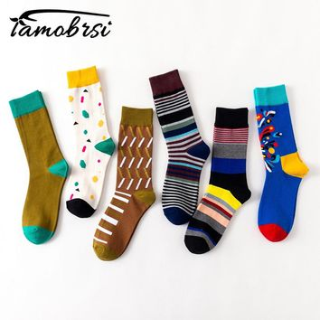 2018 New Style Geometry Striped Happy Crazy Fashion Winter Sox Women Female Funny Socks Brand Men's Cotton Thick Warm Hemp Socks