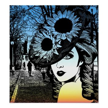 Lady Derby Hat New York Abstract Art Poster