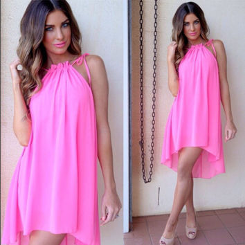 Pink Halter Strappy Chiffon Dress