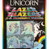 Vintage 1983 Unicorn Lazer Blazers by Colorforms 3-D Holographic Stickers NIP