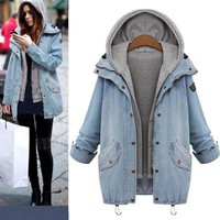 Winter Women Warm Collar Hooded Long Coat Jacket Denim Trench Parka Outwear Vest