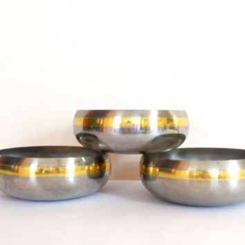 Vintage,ZEPTER bowls, Rare bowls,Unique bowls,Stainless Steel ,Round Serving Bowls, Set of three,