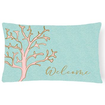 Coral Welcome Canvas Fabric Decorative Pillow BB8556PW1216